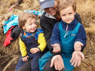 Five Valley's Land Trust's operations director, Alina McCue and her two sons, Cooper and Wyatt, take a break from clearing the Spur trail on National Public Lands Day, Sept. 30, 2017. The bottom part of the trail is old growth forest with moss that then turns into prairie habitat as the trail climbs almost 1300 feet to the top of the Spur.