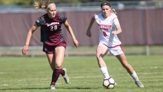 Griz defender Taryn Miller goes after Southern Utah defender Mackenzie Lawrence in an opening win for the first Big Sky conference game on Sept. 24,2017.