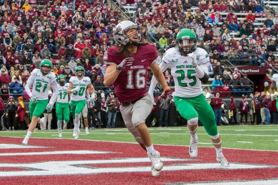 Jerrie Louie-McGee attempts to catch a pass in the endzone during the homecoming Griz football game on Oct. 14, 2017. The Griz beat North Dakota 41-17, and Louie-McGee ran 92 yards and had three catches.